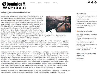 Prepping Your Horse For the Fourth-Dominica Y. Wambold