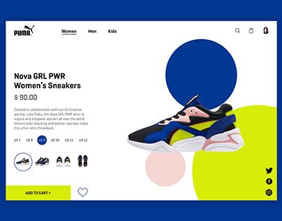 Puma e-commerce page UI