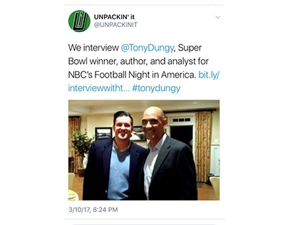 First UNPACKIN' it Tweet Promoting Tony Dungy Interview