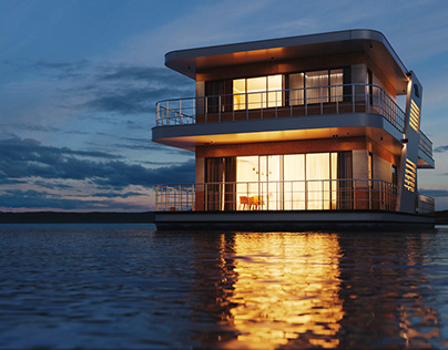 Houseboat in Moscow,Russia. Exterior for Whitewill