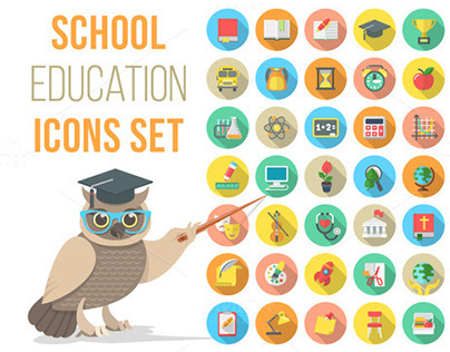 Vector Flat Round School Subjects Icons