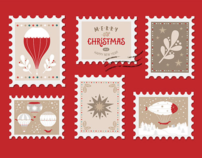 Christmas set with Christmas elements on stamps