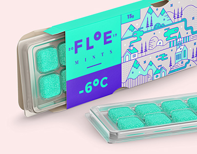 Floe mints branding and packaging
