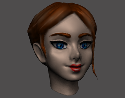 A female character head in 3 D