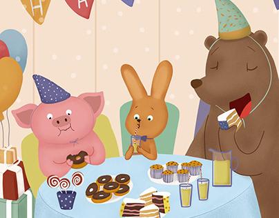 "A series of children's illustration ""It's my birthday"""