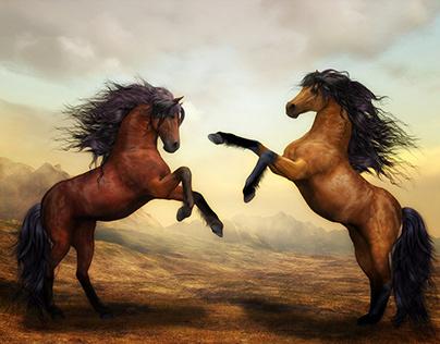 Horses- Wild Horses Digital Art & Nature Landscape