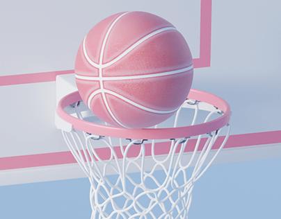Pink basketball spinning around the rim