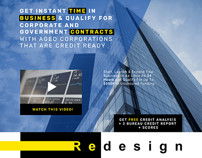 Landing page website for a financial organization