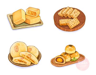 台灣美食伴手禮插畫 (色鉛筆風格) Taiwanese Food Illustration