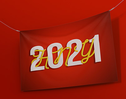 New Year 2021 banner (Interlaced Lettering)