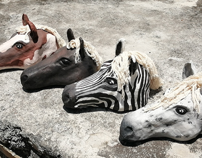 """Horse props for """"Pride of Baghdad"""" stage adaptation."""
