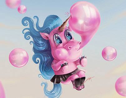 Unicorn with bubble gum