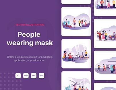 People wearing mask Illustrations