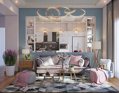 Rosy dream (living room with kitchen)