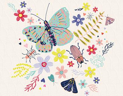 Bird butterflies blooms