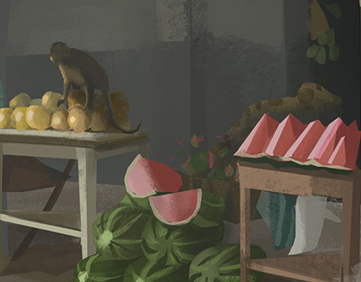 A fruit market in the rainforest