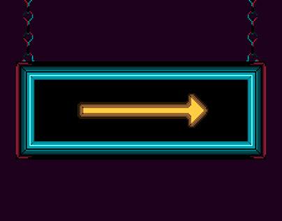 Pixel neon sign