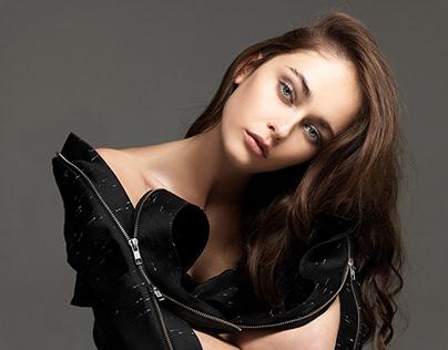"""Beauty in Black"" Andrea Klarin for Harper's Bazaar"