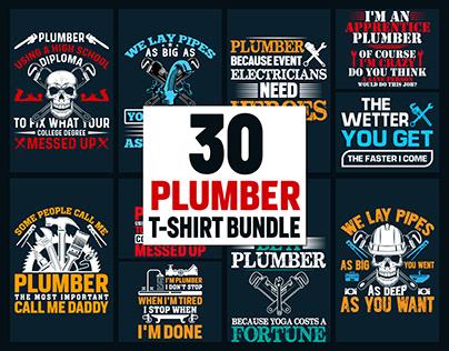 Plumber T-Shirt Design Bundle