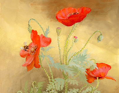 Flowers, gouache on paper