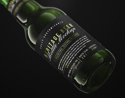 Heritage Beer Bottle Mockup+Free Sample