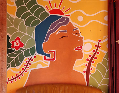 Pachamama, mural in the living room