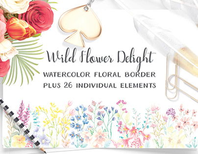 Watercolor border of wild flowers, plus elements