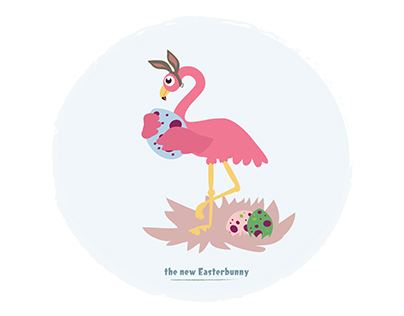 Ostermotive Flamingo + Osterhase Ausmalbild