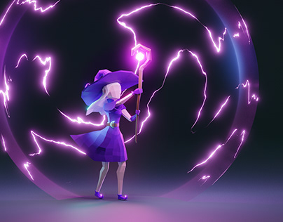 Lowpoly character: wizard girl