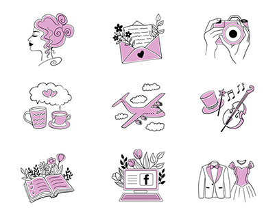 Vector hand drawn icons for the wedding website and app