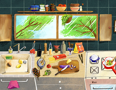 Illustrated book about old kitchen