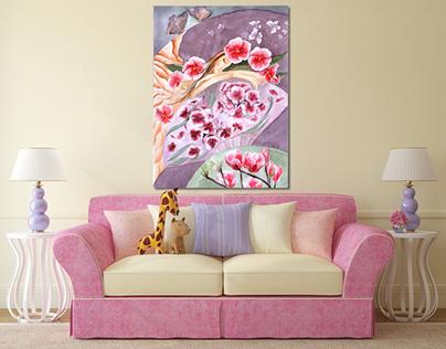 """Watercolor illustration """"Flower girl"""""""