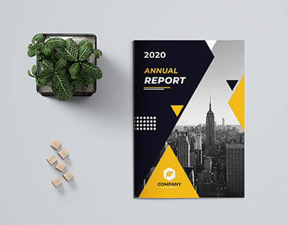 Yellow Colour 16 Page Annual Report Template