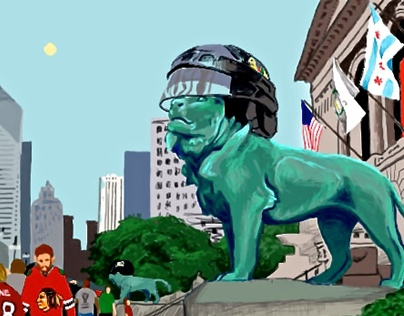 Chicago Blackhawks Art Institute Lions