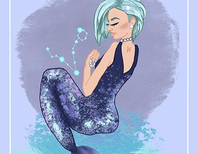 Pisces zodiac mermaid illustration