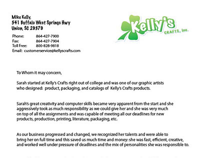 Kelly's Crafts Reference Letter
