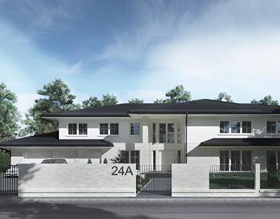visualization of single-family house  - Wright stylized