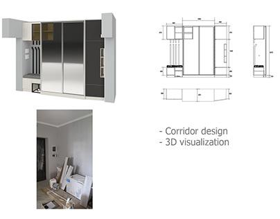 Corridor design. 3D visualization