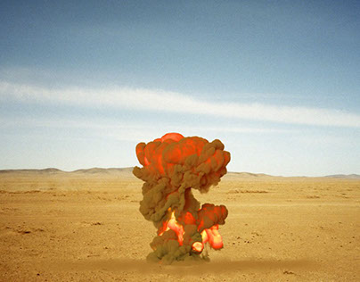 Missle explosion on desert