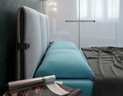 Tiffany blue bedroom interior by MUZA Design