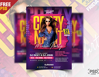 Crazy Night Club Party Flyer PSD