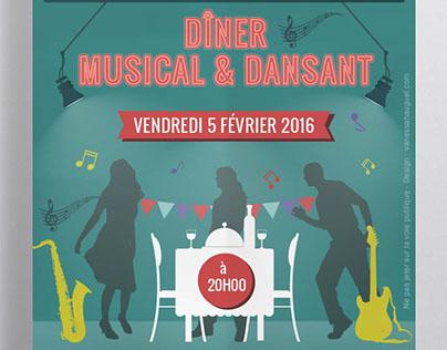 Affiche flyer Diner musical dansant