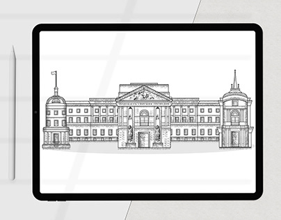 Drawing the facades of the Mikhailovsky castle