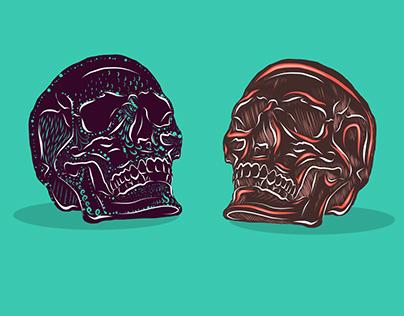 Dia de los Muertos Decorated Skulls