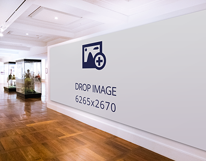 Wide billboard mockup in front of a museum's lobby