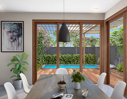 View From Dinning To Pool CGI Rendering