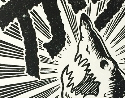 """""""With Enthusiasm!"""", linocut, 2017."""