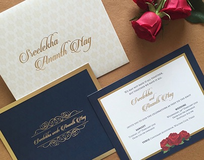 Wedding Card Designing with Rose, Gold and Blue theme