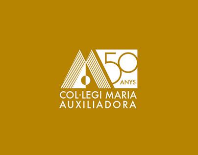 Logotipo 50 anys Col·legi Maria Auxilidora