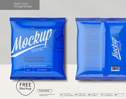 Free Plastic Snack Package Mockup Front & Back Views